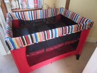 OBABY NAPTIME TRAVEL COT/PLAY PEN WITH BASSINETTE ONLY USED A FEW TIMES AT NANAS HOUSE RETAIL £70