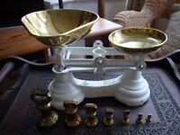Traditional Kitchen Scales,With Full Set Of Imperial Bell Weights.