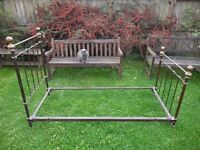 Antique french brass and iron single bed circa 1900