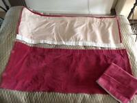 "Wide dusky pink velvet lined curtains 65""w 26""l x3"