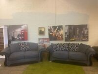 GORGEOUS GREY DFS FABRIC SOFA SET IN NICE CONDITION WITH ALL CUSHIONS CHROME FEET