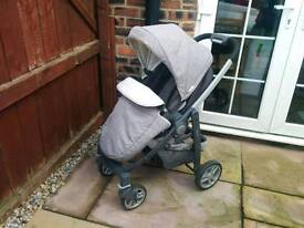 Graco Evo Avant travel system silver grey. Pushchair, carry cot & car seat