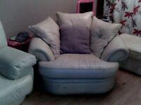 Large cream sofa & cream chair