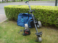 ELECTRIC GOLF TROLLEY/BATTERY/CHARGER/TRAVEL CASE
