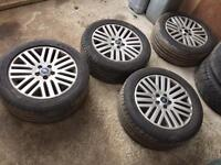 "Set of 4 17"" ford alloy wheels with tyres"