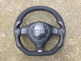 AUDI A3 S3 8L NEW CUSTOM MADE FLAT BOTTOM STEERING WHEEL