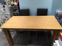 Oak Finished Dining Table and 4 Chairs