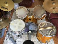 5 Piece Drum Kit - Sonorlite (Gold) with Cymbals, Stool & Drum Sticks