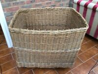 ORIGINAL EARLY HOTEL LAUNDRY BASKET WITH ROPE HANDLE AND ON WHEELS