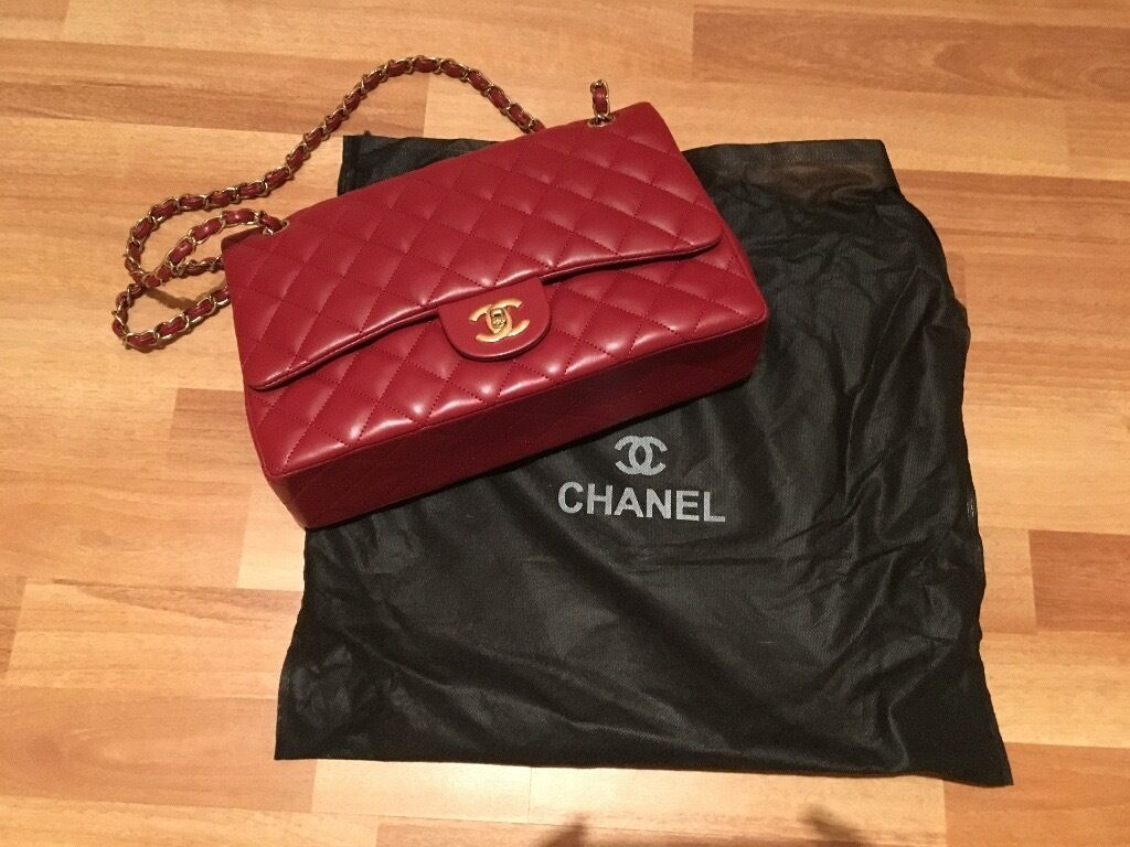 Chanel Jumbo Burgundy Red Flap Bag Gold Hardware