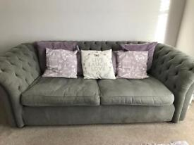 (Chesterfield Style) Langham Place 3 seater fabric sofa and matching footstool - Grey