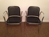 Garden Chairs - Stainless steel with plastic 'wicker' seat and back.