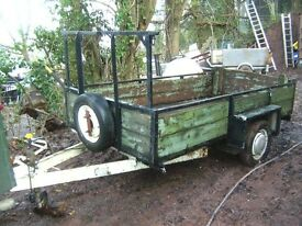 LARGE, STEEL FRAMED, WOODEN BUILDERS TRAILER