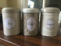 Brand New Kitchen Canisters/Storage Jars for Tea, Coffee and Sugar