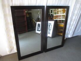 HEAVY DARK WOODEN FRAMED BEVELLED EDGE WALL MIRROR SIX AVAILABLE