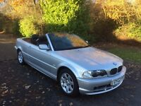 BMW 318CI CONVERTIBLE 02 REG IN ICE SILVER WITH BLACK LEATHER AND ELECTRIC BLACK HOOD. 07867955762