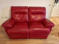 3 seater & 2 seater leather reclining sofas