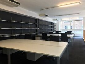 OFFICE FURNITURE - Fantoni Desk/Birch Plywood Storage units, with shelves/Pedestal 3 drawers