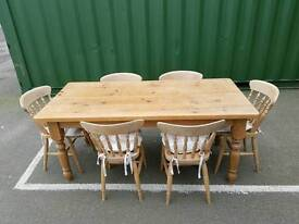 Farmhouse Solid Pine Table and chairs
