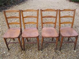 SET OF 4 OLD CHAPEL / CHURCH CHAIRS. More available, also pews. DELIVERY POSSIBLE.