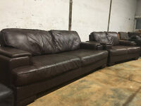 DFS brown leather sofas DELIVERY AVAILABLE