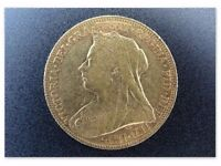 Full gold Sovereign coin Victoria 1898 M graded EXTREMELY FINE