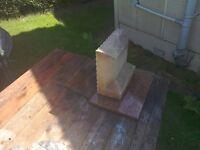 Small sandstone memorial & granite plinth.