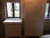 Babies R Us 3 Drawer Dresser & Wardrobe in White