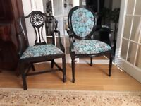 Newly painted and're upholstered chairs. Artdeco shabby chic style.
