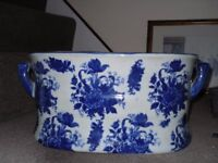 Blue and white ironware planter - £10