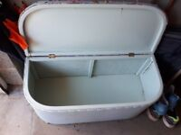 Lloyd Loom ottoman. In need of freshening up .....painting....new hinge chains....