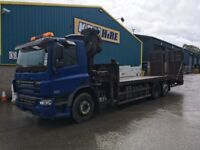 2008 DAF CF75 RIGID BEAVERTAIL LORRY COMPLETE WITH HIAB 6.5T CRANE AND REMOTE, WINCH AND RAMPS
