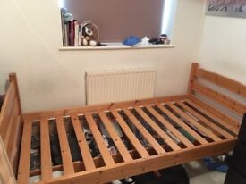 Single Pine bed frame with 2x storage drawers.