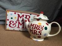 Emma Bridgewater Mr and Mrs teapot brand new never used