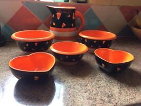 Designer pottery jug and bowls