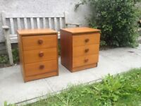 2 x retro teak veneered bedside cabinets