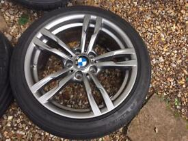 """Genuine BMW 18"""" 441 alloy wheels and tyres 3/4 series - immaculate condition - ferric grey"""
