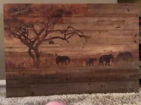 Wooden elephant printed picture, brought from the range £40 selling because of changes
