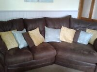 brown corner sofa with arm chair & foot stool