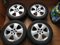 "used VAUXHALL VECTRA 5DR 16"" 4 X ALLOY WHEELS WITH TYRES 215/55R16 tyers have a good tread"