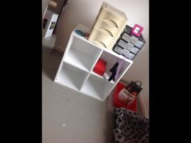 2 white storage display units ; bedroom, up-cycling, garage etc - used condition