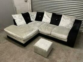 FREE DELIVERY SILVER & BLACK CRUSHED VELVET L-SHAPED CORNER SOFA & FOOTSTOOL GOOD CONDITION