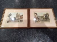 Wimborne Minster and Christchurch Watercolours in Excellent Condition