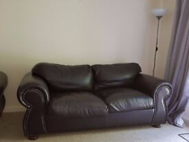Dark brown leather 2 seater sofa (2 to sell)