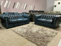 Beautiful Saxon Antique blue 3+2 seater chesterfield sofa