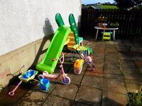 Children's Slide, Sandpit with, dolls buggy and trike.