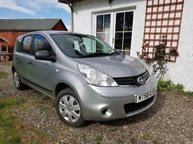 2009 Nissan Note Visia 1.4 (Silver /Petrol ) 5 dr MOT Jan 2018 & service history, 2 keys, 2 owners