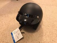 Black vintage style BNWT open faced motorcycle helmet