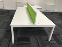 4 positions office workstation desk table white with divider and cable tray 280cm length