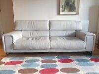 Natuzzi Etiole 3-Seater Sofa in pale grey leather